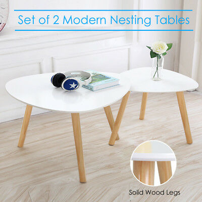 Nest of 2 Tables Coffee Side Table Pine Leg White