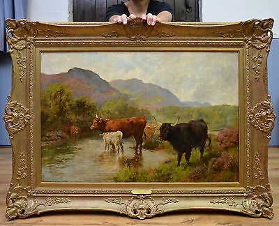 Large Fine 19th Century Oil Painting Highland Cattle Watering on Scottish River