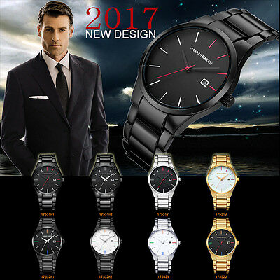 Men Fashion Watch Military Stainless Steel Date Analog Quartz Sport Wrist Watch