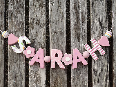 Sarah Wooden Name Sign Wall Letters Door Decoration Baby Shower Nursery Shabby
