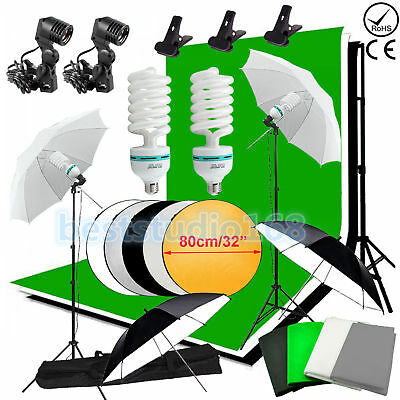 Studio de photographie Kit d'éclairage continu Umbrella Backdrop Fond Stand Set