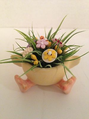EASTER VTG Button Bokay/Egg Cup w/feet-Country Decor-Ornie-Shabby Cottage Chic