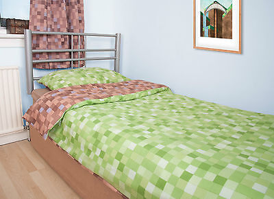 Pixel Duvet Cover With Pillow Case - Bedding Set Inspired By Minecraft Game