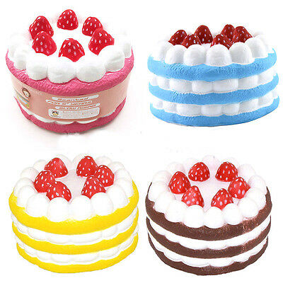 Jumbo Squishy Strawberry Party Cake Scented Super Slow Rising Kid Toy Strap 12CM