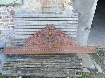 "50"" Antique French Hand Carved Pediment 19 th - Solid Walnut Finely Carved"