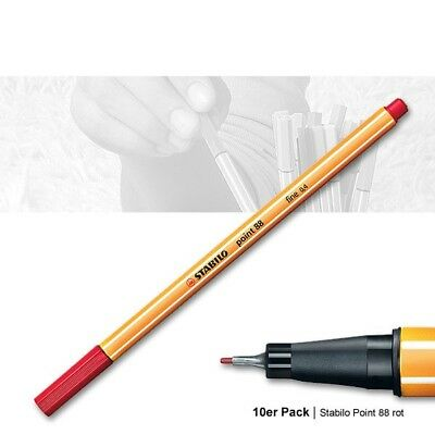 Stabilo Point 88 rot - 10er Pack Fineliner, Strichstärke 0,4 mm