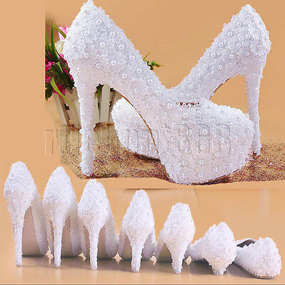 Handmade White Lace Pearl Bridal Wedding Platform High Heels Party Dress Shoes