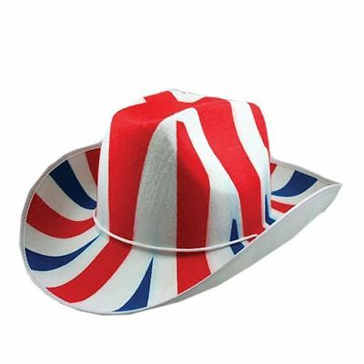 Great Britain Union Jack Flag Fabric Cowboy Hat Sport Street Party Favours