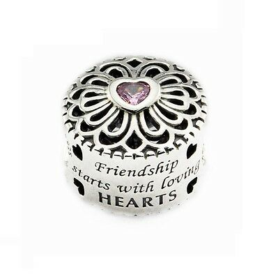 S925 Silver EURO Friendship Loving Hearts Charm Pink CZ - FREE Pandora Cloth