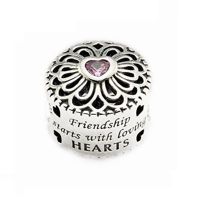 S925 Sterling Silver EURO Friendship Starts Loving Hearts Charm Pink CZ  Bead