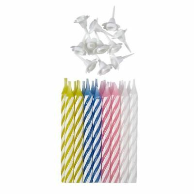 24pk Multi Colour Candles with Holders Birthday Party  Cake Decoration Toppers
