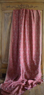A pair of antique French extremely long wool and silk brocade curtains
