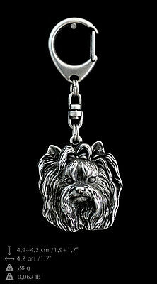 Yorkshire Terrier, silver covered keyring, high qauality keychain Art Dog