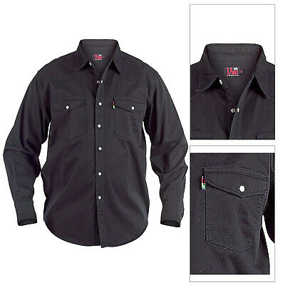 f05ed45318 Duke London Big Tall King Size Mens Western Denim Top Long Sleeved Cotton  Shirt