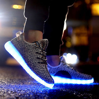 Unisex LED Light Casual Luminous Shoes Lace Up Trainer Sportswear Sneaker EU 44