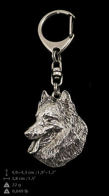 Belgian Shepherd Malinois silver covered keyring, high qauality keychain Art Dog