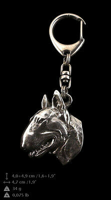 Bull Terrier, silver covered keyring, high qauality keychain Art Dog