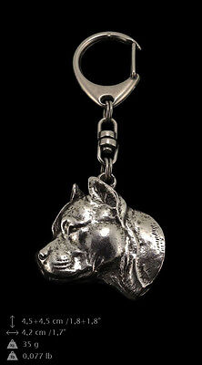 Staffordshire Bull Terrier 3, silver covered keyring, high qauality Art Dog