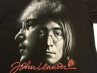 John Lennon T-Shirt (XL) Screen-Print Double Portrait and Signature