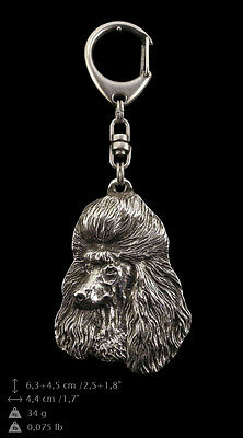 Poodle, silver covered keyring, high qauality keychain Art Dog