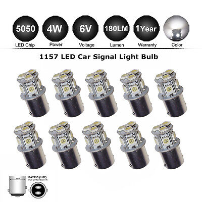 10X White 5050 1156 BA15S LED 8 SMD Motor Auto Car Turn Signal Light bulbs DC6V