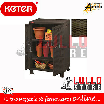 KETER ARMADIO ARMADIETTO MOBILE BOX IN RESINA 2 ANTE RATTAN  65x45x99H ROVERE