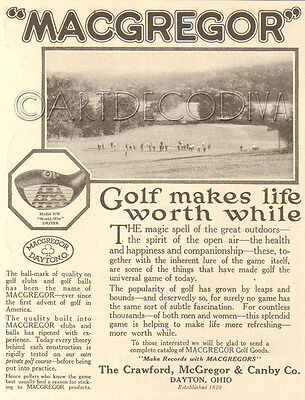 Antique MACGREGOR Golf Club LIFE WORTHWHILE Course Photograph Sporting Goods Ad