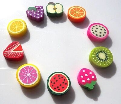 Large Fimo Colourful 15Mm Fruit Embellishments Flatbacks Apple Strawberry Melon