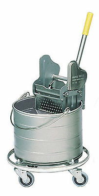 """Royce Rolls #404 Stainless Steel 4-Gallon Bucket and Wringer Combo on 3"""" Casters"""