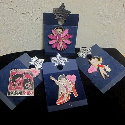 BETTY BOOP UNIVERSAL STUDIOS NEW BIKER VEST HAT PIN LOT OF 4 Wild Bling Glitter