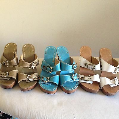 Diego di Lucca clog leather sandals lot of 3 size 9