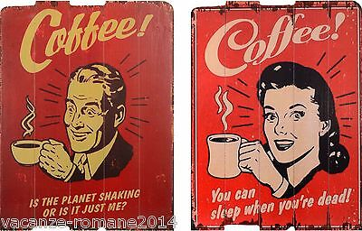 2 Holzbilder- Coffee - Kaffee - 66 cm x 50 cm-A SET OF 2 VINTAGE PRINTS ON WOOD