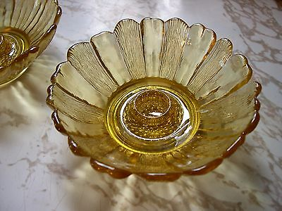 Vintage Pair Of Beautiful Yellow Glass Candle Stick Holders Flower Shaped