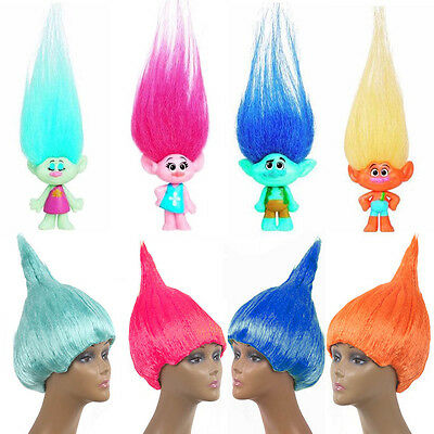 Adult Trolls Doll Style Blaze Flame Gradient Hair Costume Party Wig Accessories