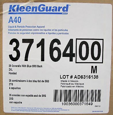 (CASE OF 25) Hooded Disposable Coveralls,2XL KLEENGUARD 37164 A40
