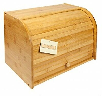 Natural Bamboo Kitchen Storage Box Wooden Bread Bin Double Decker Roll Top