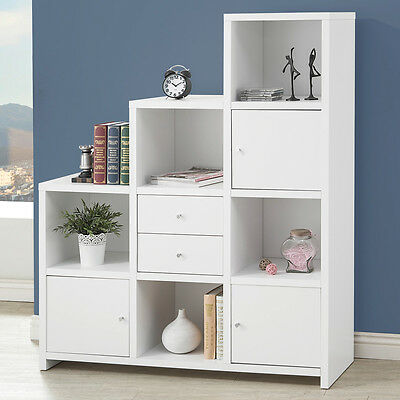 New Modern White Bookcase Asymmetrical Bookshelf 5 Shelves Drawers Book
