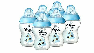Tommee Tippee Closer to Home Feeding Bottles with Natural Action - Blue (6 Pack)
