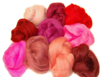 Pink / Red Merino Wool dyed roving tops 10 colours needle felting hand spinning