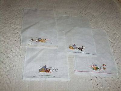 Napkins Cocktail Set of 4 Horse and Carriage   3 C