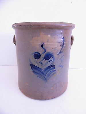 Antique Stoneware Salt Glaze Cobalt Blue Flower 4 Gallon Crock