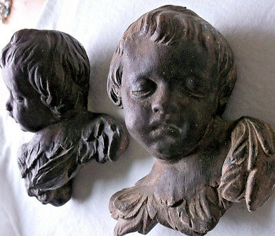 Angels Cherubs Face 19th Century Carved Antique