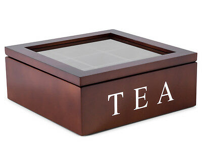 9-Compartment Wooden Tea Storage Box - Brown