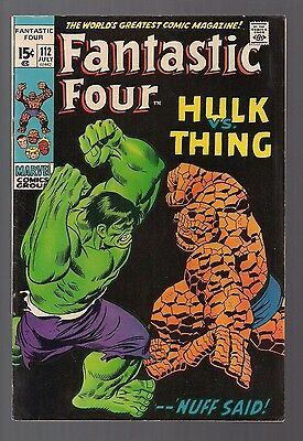 Fantastic Four #112 Hulk vs Thing By Stan (July 1971, Marvel) Very Nice Colors