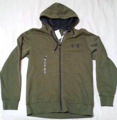 NWT Men's Dark Green Full Zip Under Armour Hooded Jacket Size Small