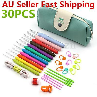 30pcs Crochet Hooks Kit Yarn Knitting Needles Sewing Tools Grip Set With Bag