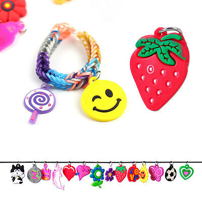 New 50x Silicone Loom Charms Cartoon Hangs for Rainbow Bands Bracelet Craft DIY