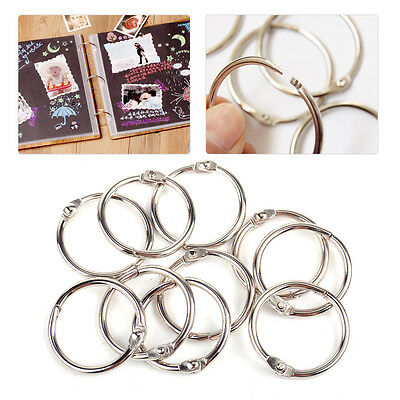 10Pcs 25mm Iron Loose Leaf Book Binder Metal Hinge Locking Rings Scrapbooking
