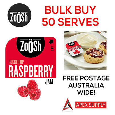 Zoosh Raspberry Jam Portion Control Single Serve 50 x 13.6g BULK KRAFT