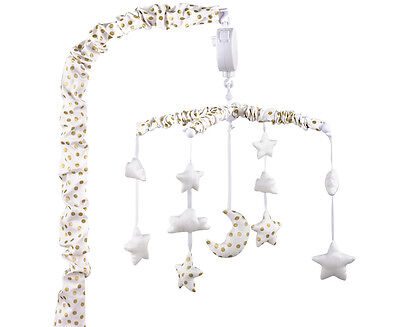 The Peanut Shell Gold Stars Musical Mobile - White/Gold